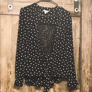💋Candies polka dot and lace blouse size L💋
